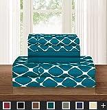 Elegant Comfort Luxury Softest 4-Piece Sheet King Green 548RW-6PC-Bloomdale-Sheets-K-Teal