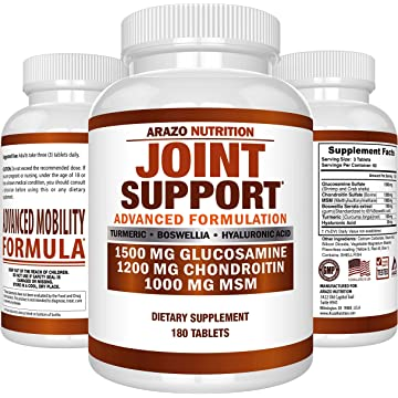 powerful Glucosamine Chondroitin Turmeric MSM Boswellia - Joint Support Supplement for Relief 180 Tablets - Arazo Nutrition