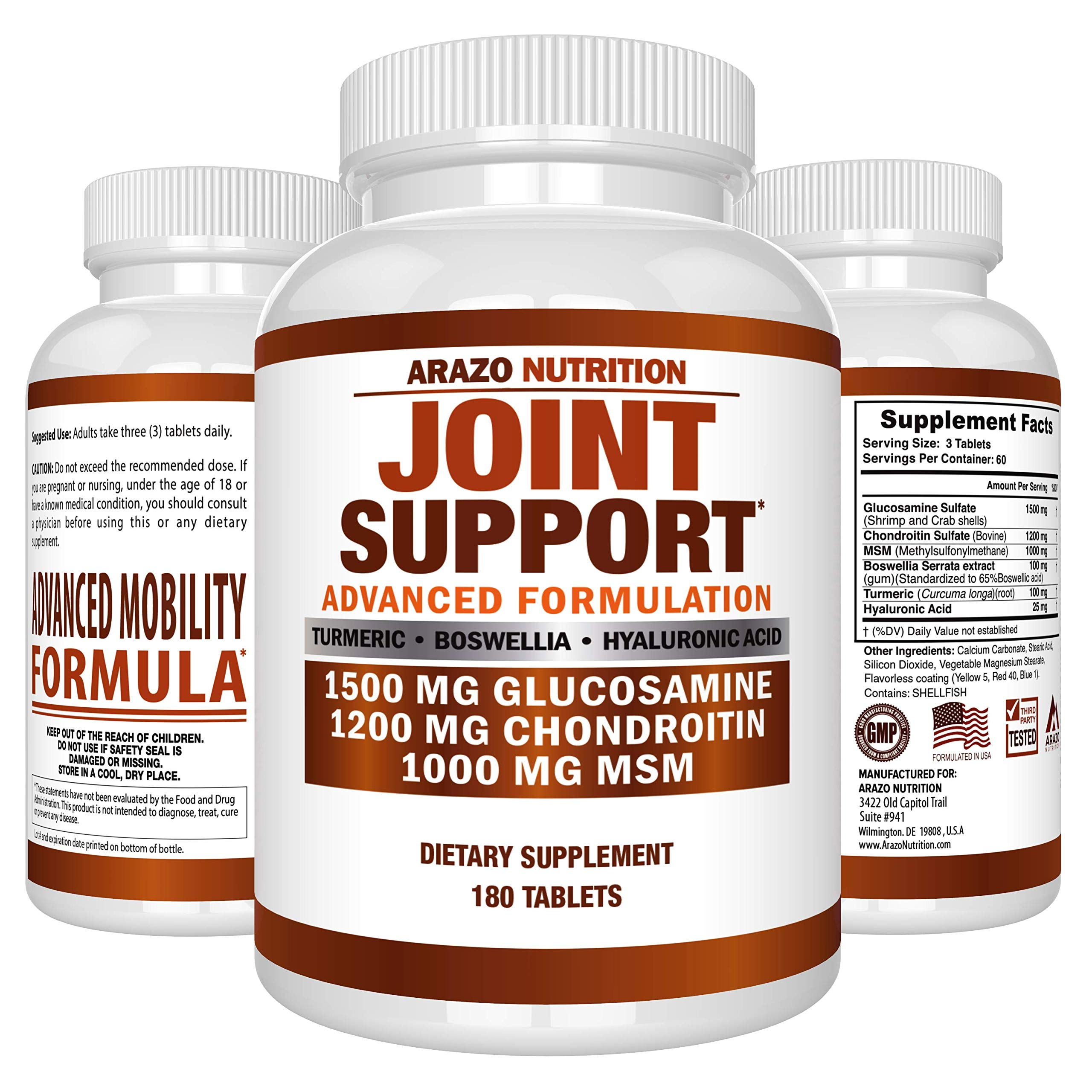 Glucosamine Chondroitin Turmeric MSM Boswellia - Joint Support Supplement for Relief 180 Tablets - Arazo Nutrition by Arazo Nutrition