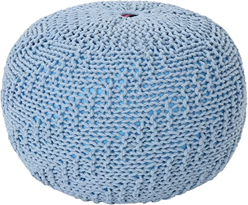 Christopher Knight Home Beryl Knitted Cotton Pouf, Teal, Blue