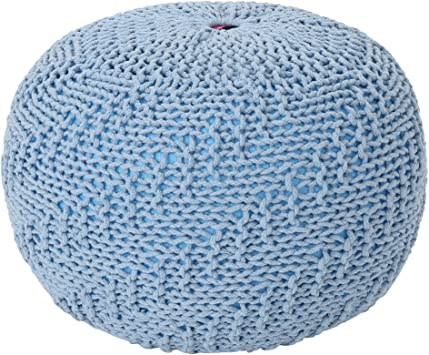 Christopher Knight Home Hershel Knitted Cotton Pouf by Teal