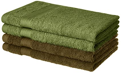 Amazon Brand - Solimo 100% Cotton 4 Piece Hand Towel Set, 500 GSM (Brown and Olive Green)
