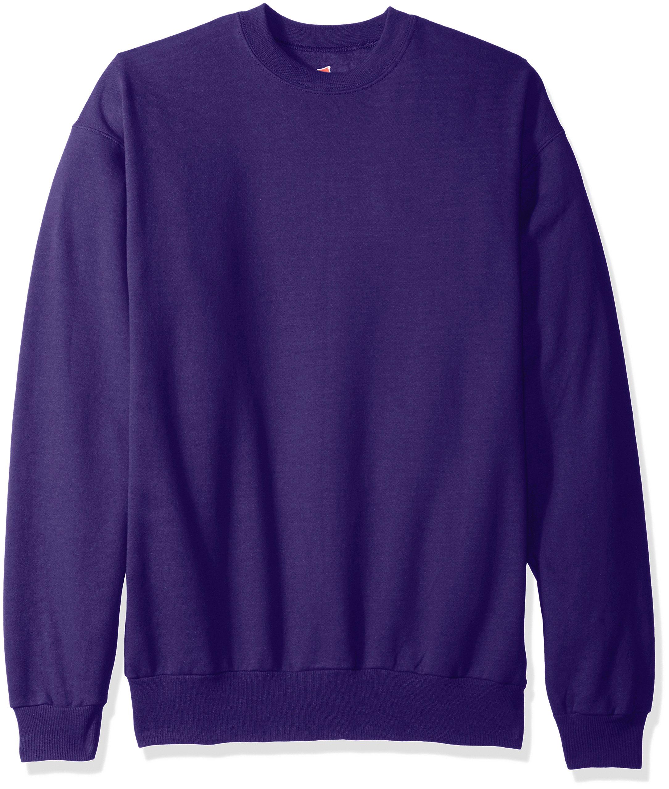 Hanes Men's EcoSmart Fleece Sweatshirt, Purple, Large