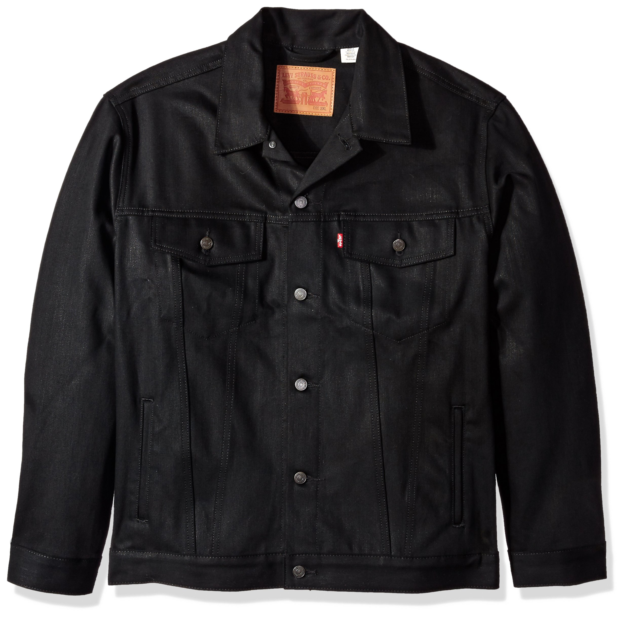 Levi's Men's Big and Tall Trucker Jacket, Polished Black, 4XL