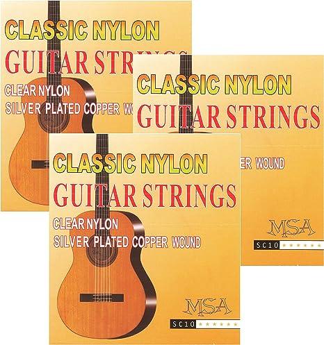 Juego de 3 cuerdas para guitarra acústica – Cuerdas de nailon para ...
