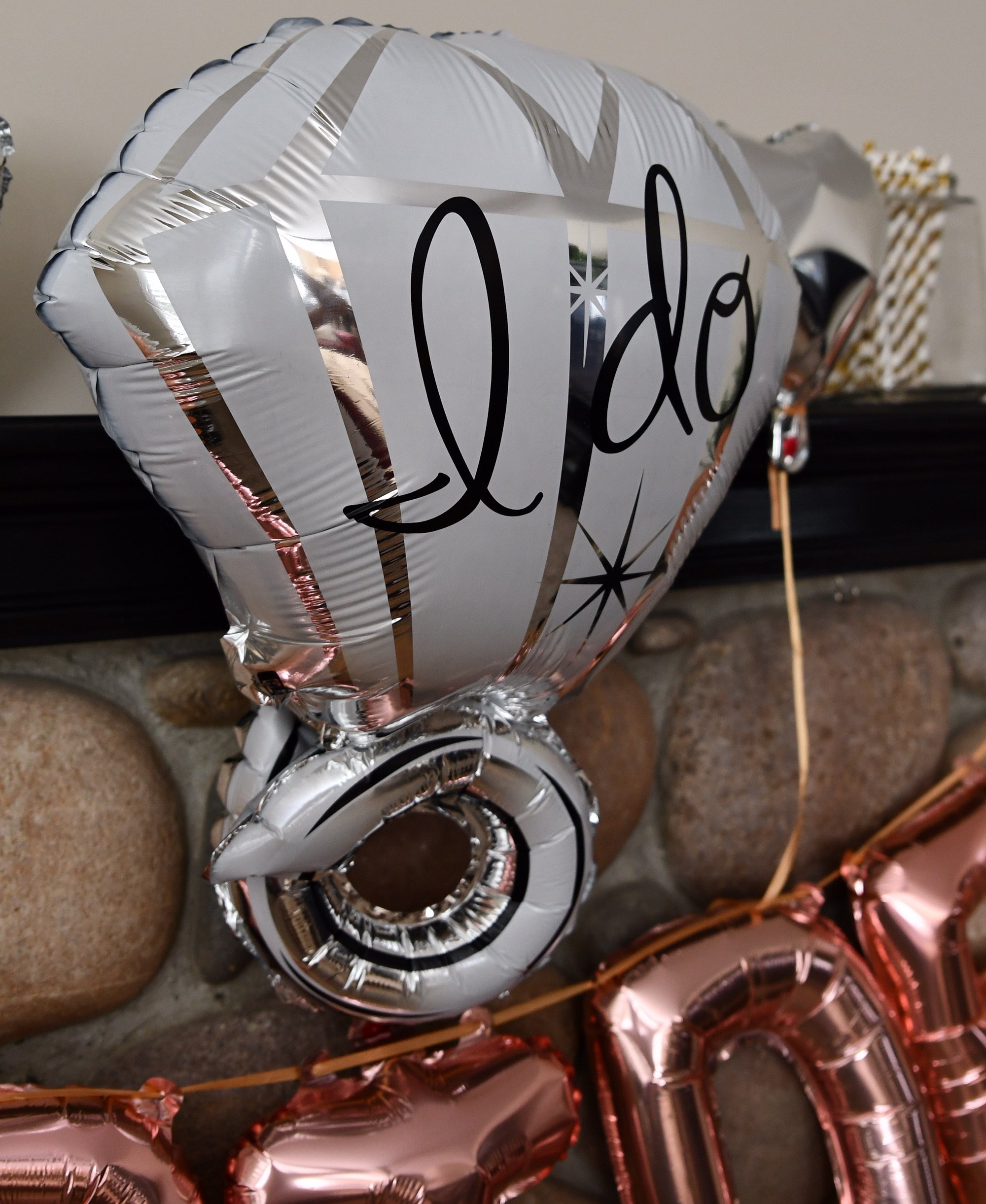 Bachelorette Party Decorations Pack - Rose Gold Party Supply Kit with Rose Gold, White Pearl and Silver Heart Balloons + Rose Gold Straws + The Bride Sash + Bride Foil Banner and Diamond Ring Balloon by Party Simple (Image #5)