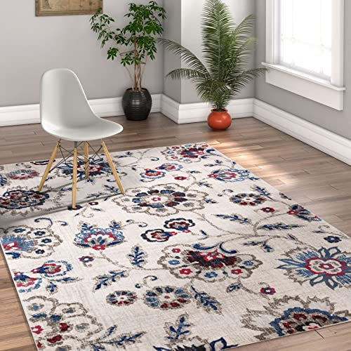 Well Woven Oshibana Beige Blue Vintage Modern Floral Shabby Chic 4×6 3 11 x 5 7 Area Rug Neutral Traditional Oriental Thick Soft Plush Shed Free