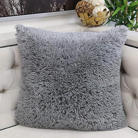 Amazon.com: Homey Cozy Funda de almohada de piel sintética ...