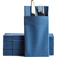 Navy Dinner Napkins Cloth Like with Built-in Flatware Pocket, Linen-Feel Absorbent Disposable Paper Hand Napkins for…