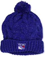 NHL New York Rangers Women's Cuffed Knit Hat With Pom, One Size,Blue