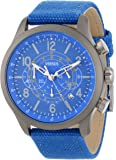 Versus by Versace Men's SGL020013 Soho Round Gun Ion-Plated Stainless Steel Blue Canvas Strap Watch