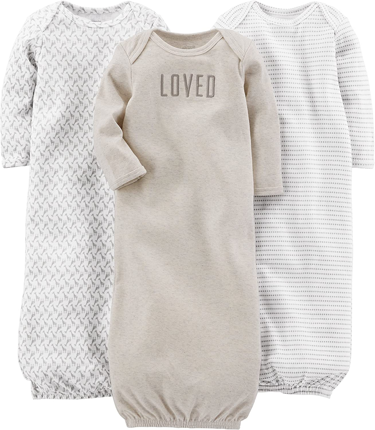 Simple Joys by Carter's Baby 3-Pack Cotton Sleeper Gown: Clothing