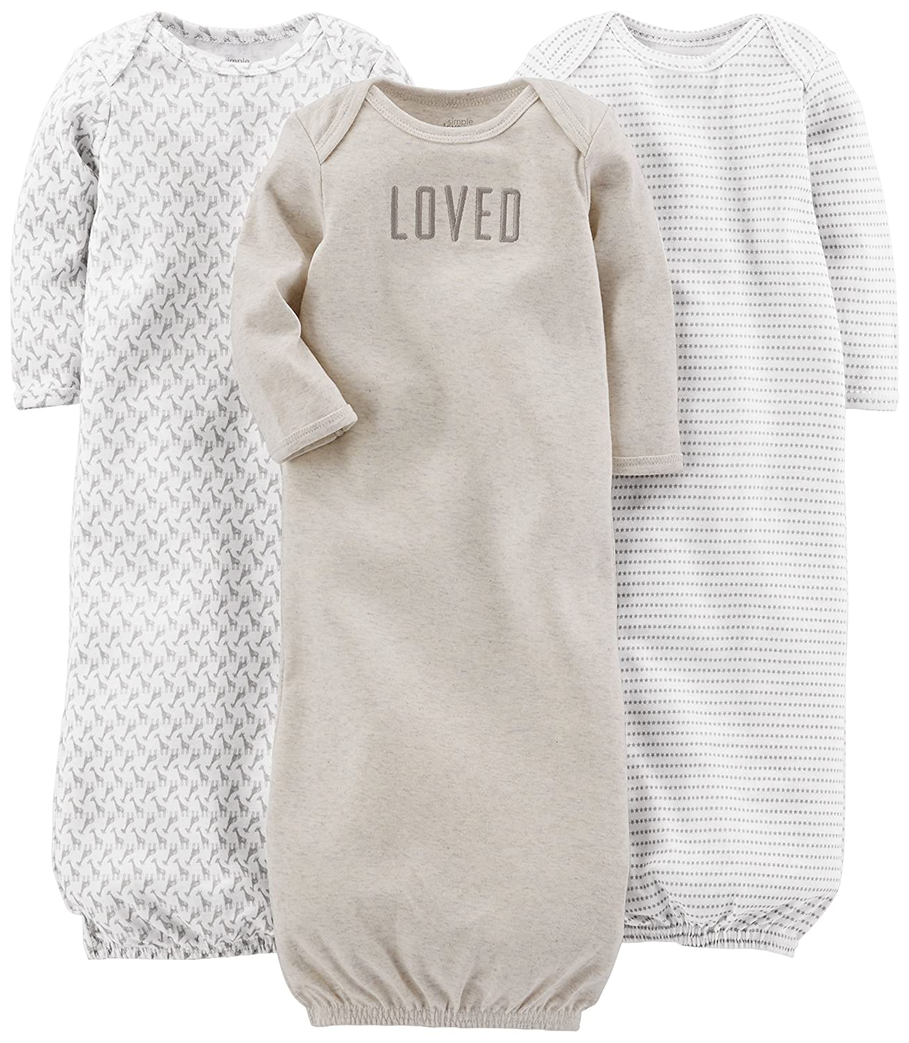 Amazon.com: Simple Joys by Carter\'s Baby 3-Pack Cotton Sleeper Gown ...