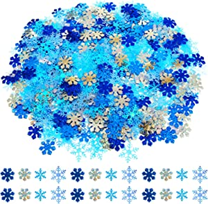 1000 Pieces Christmas Glitter Snowflakes Confetti White and Blue Winter Window Cake Table Confetti Snow Snowflakes Decorations for Xmas Wedding Birthday Holiday Decorations Supplies