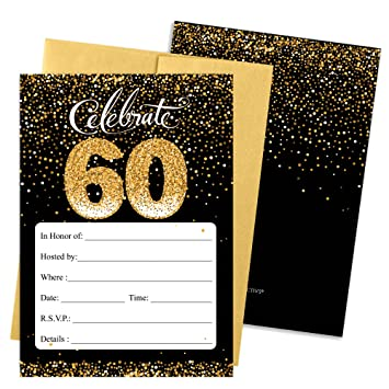 60th Birthday Party Invitation Cards With Envelopes 25 Count Black And Gold