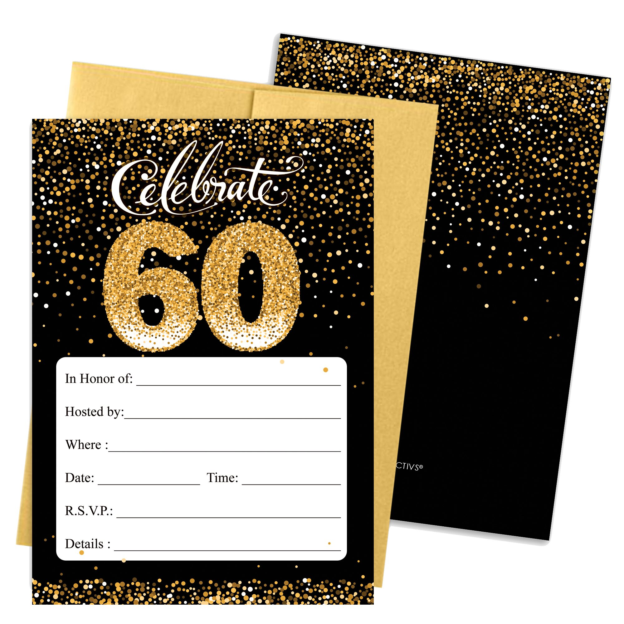 60th Birthday Party Invitation Cards with Envelopes, 25 Count (Black and Gold)