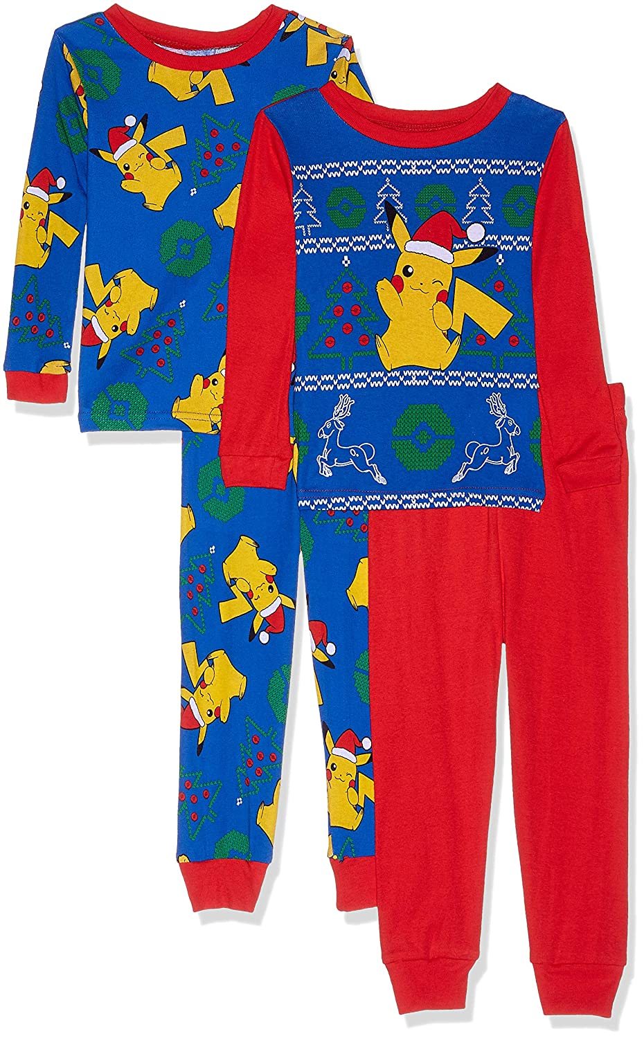 Pokemon Boys' Pikachu Holiday 4 Piece Cotton Pajama Set