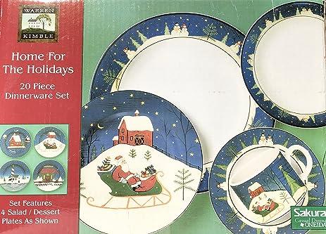 Amazon.com | Warren Kimble Home For The Holidays 20 Piece Dinnerware ...