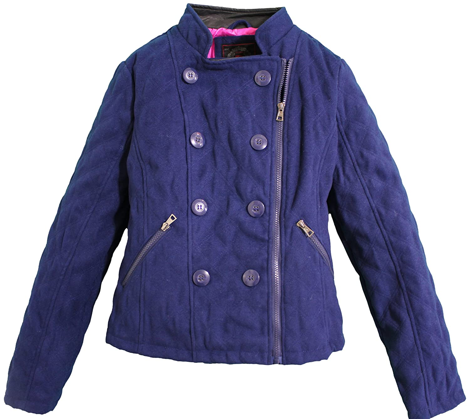 Dollhouse Womens Classic Full Zip Wool Look Midweight Pea Jacket for sale