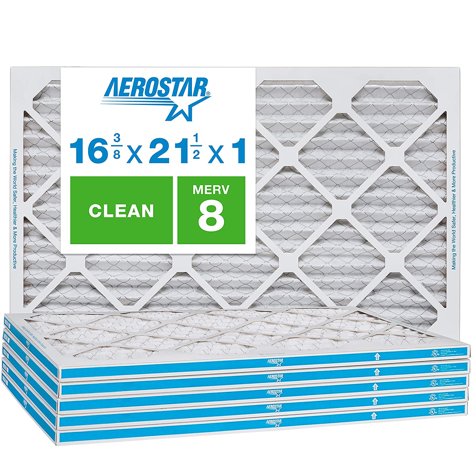 Aerostar Clean House 16 3/8x21 1/2x1 MERV 8 Pleated Air Filter, Made in the USA, 6-Pack