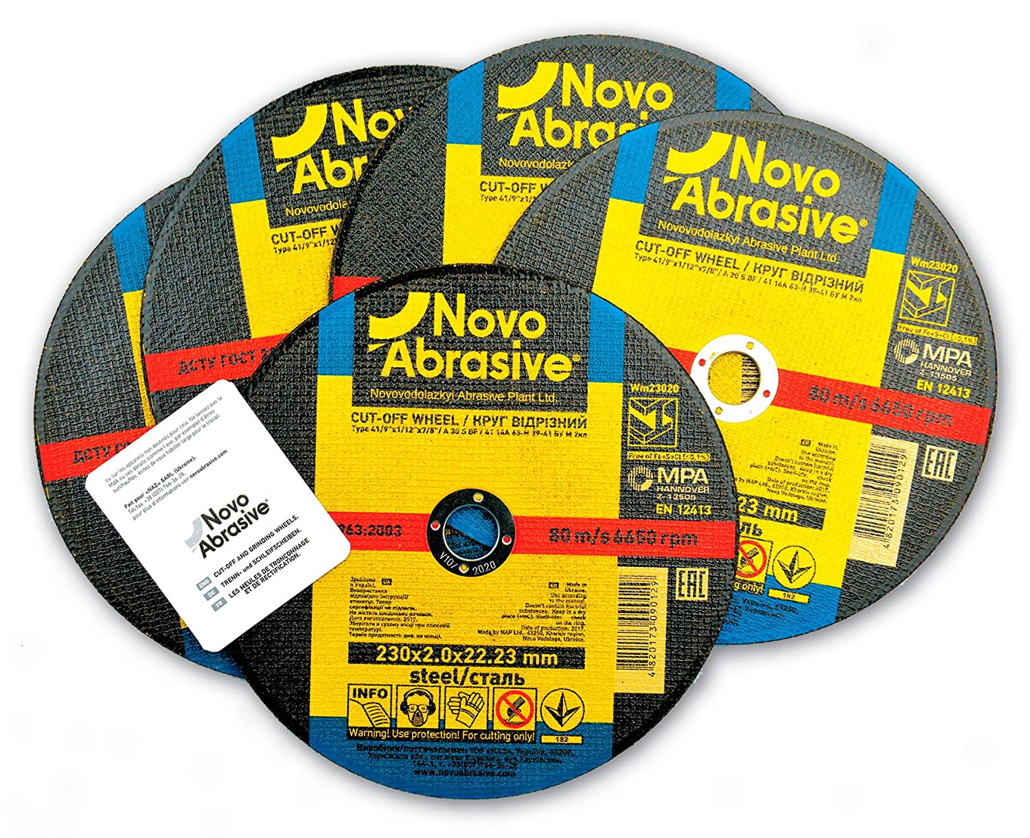 Pack of 10 PCS NOVOABRASIVE Metal Cutting Discs 125mm x 1.6mm for Angle Grinder Use for Cut Metal Steel and Non-Ferrous Metals Stainless Steel