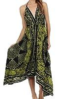 Sakkas Women's Batik Medallion Handkerchief Hem Adjustable Dress