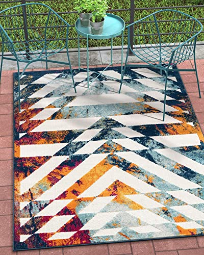 Well Woven Selena Bright Multicolor Indoor Outdoor Patch Concentric Diamond Pattern Area Rug 5×7 5 3 x 7 3
