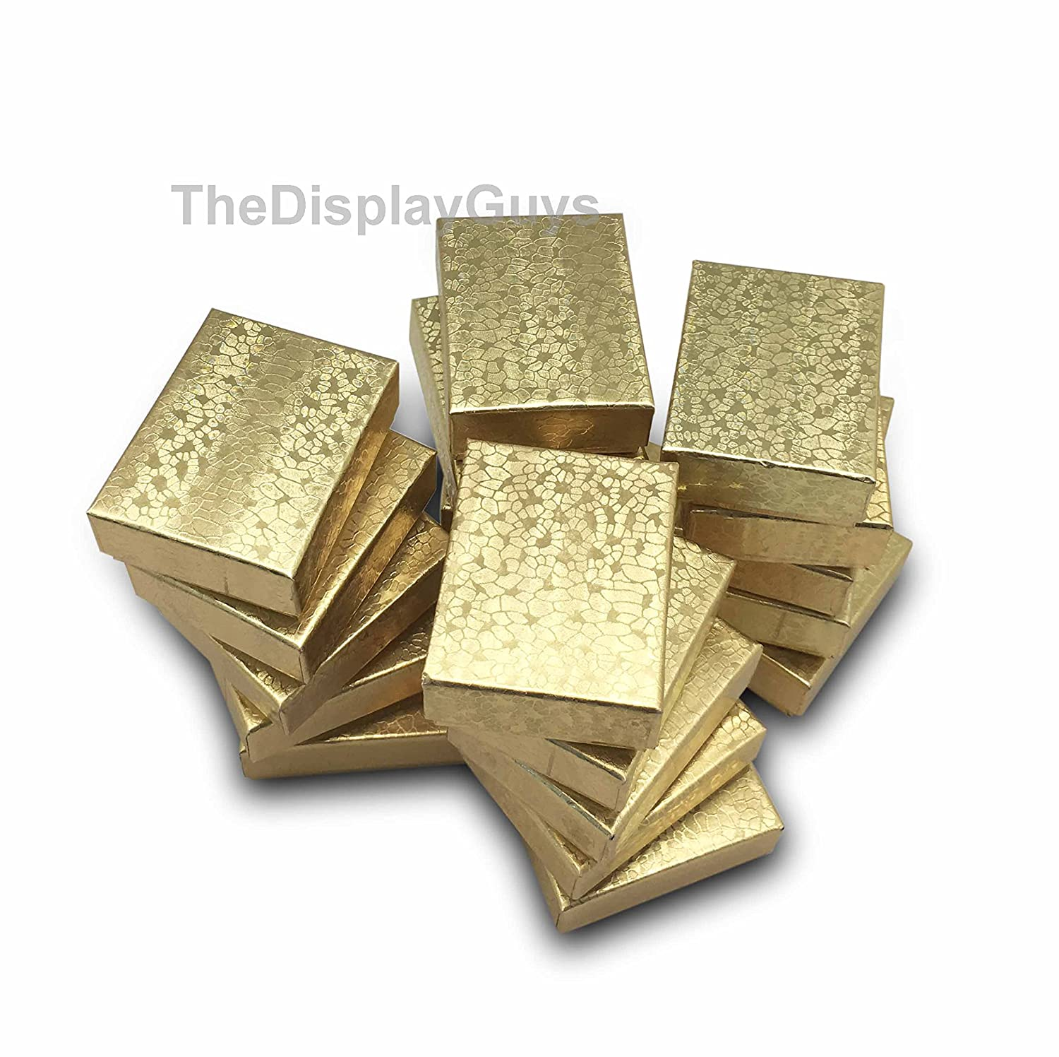 The Display Guys~ Pack of 100 Cotton Filled Cardboard Paper Gold Jewelry Box Gift Case -Gold Foil (2 1/8x1 5/8x3/4 inches #11) JPI Display