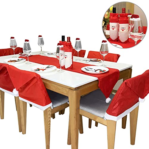dining table decor summer 25pcs christmas dinnerware set for kitchen dinner table decorations santa claus hat runner chair decorations amazoncom
