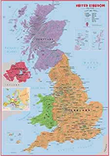 Cities Of Uk Map.Eaposter Poster Print High Detail Uk Map Roads Rivers Hills Cities