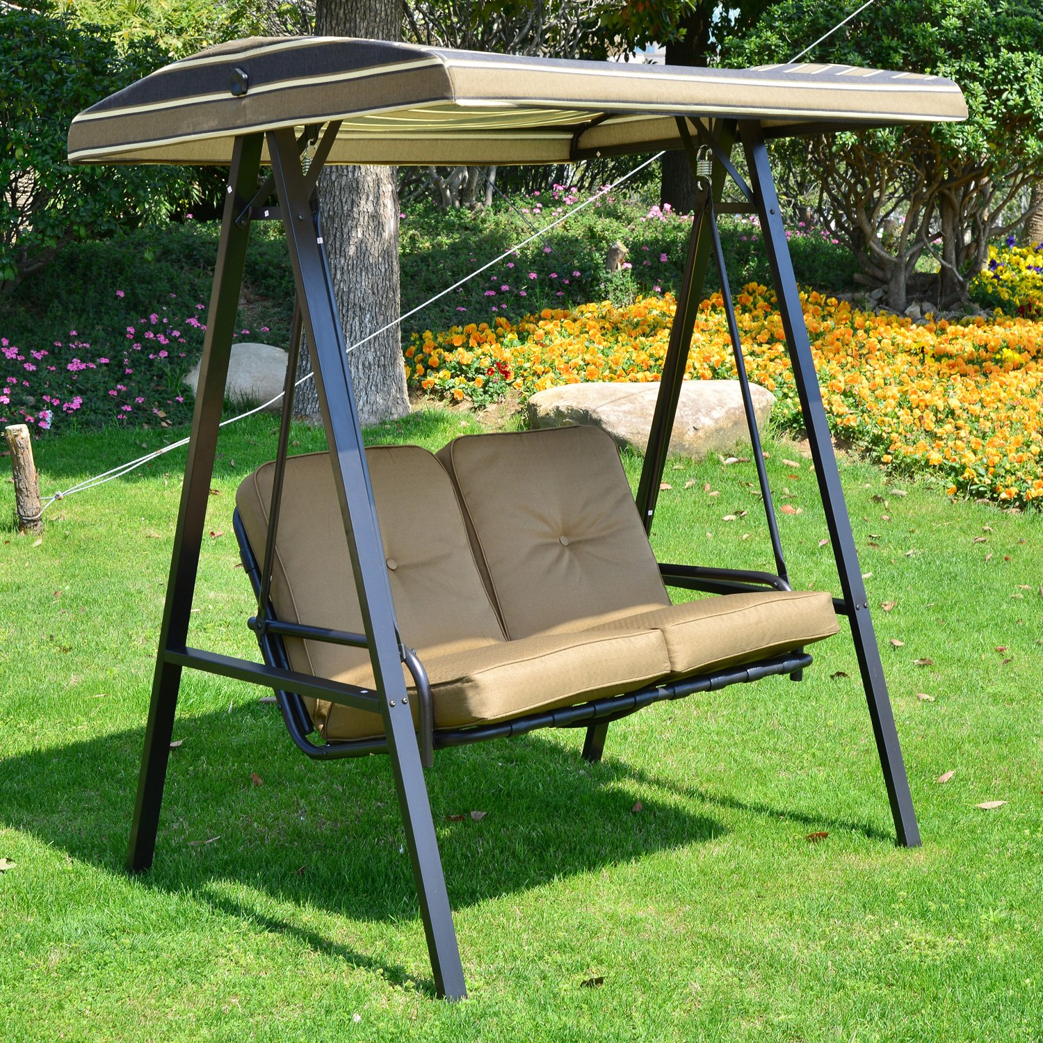 Outsunny Garden Patio Swing Chair 2 Seater Swinging Hammock