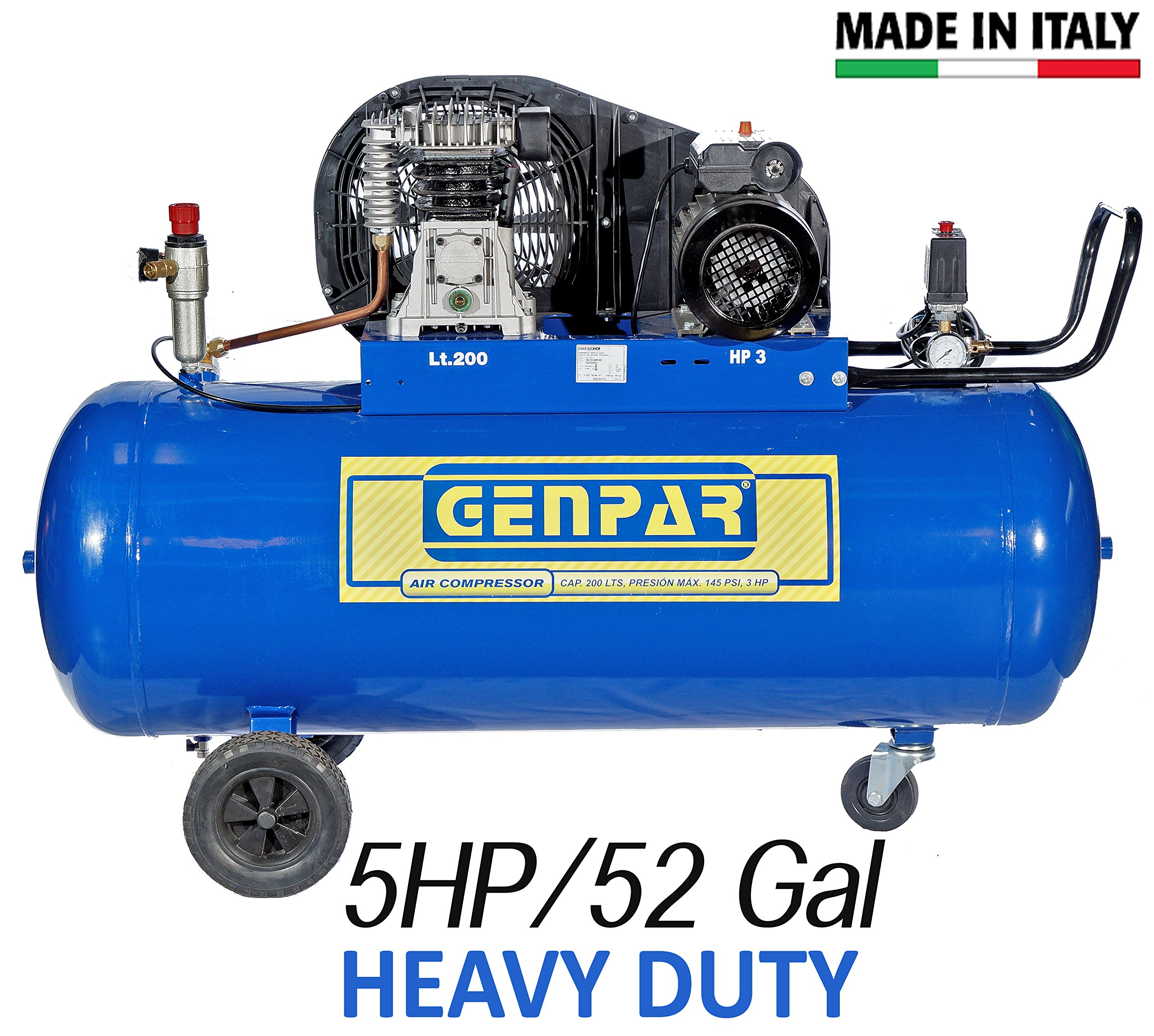 5HP 52-Gal Capacity Tank PORTABLE AIR COMPRESSOR Professional Commercial HEAVY DUTY 22.6 CFM ELECTRIC MOTOR 220 VOLTS 3 PHASE Max Pressure 160PSI Belt Driven Contractors Workshop GENPAR MADE IN ITALY
