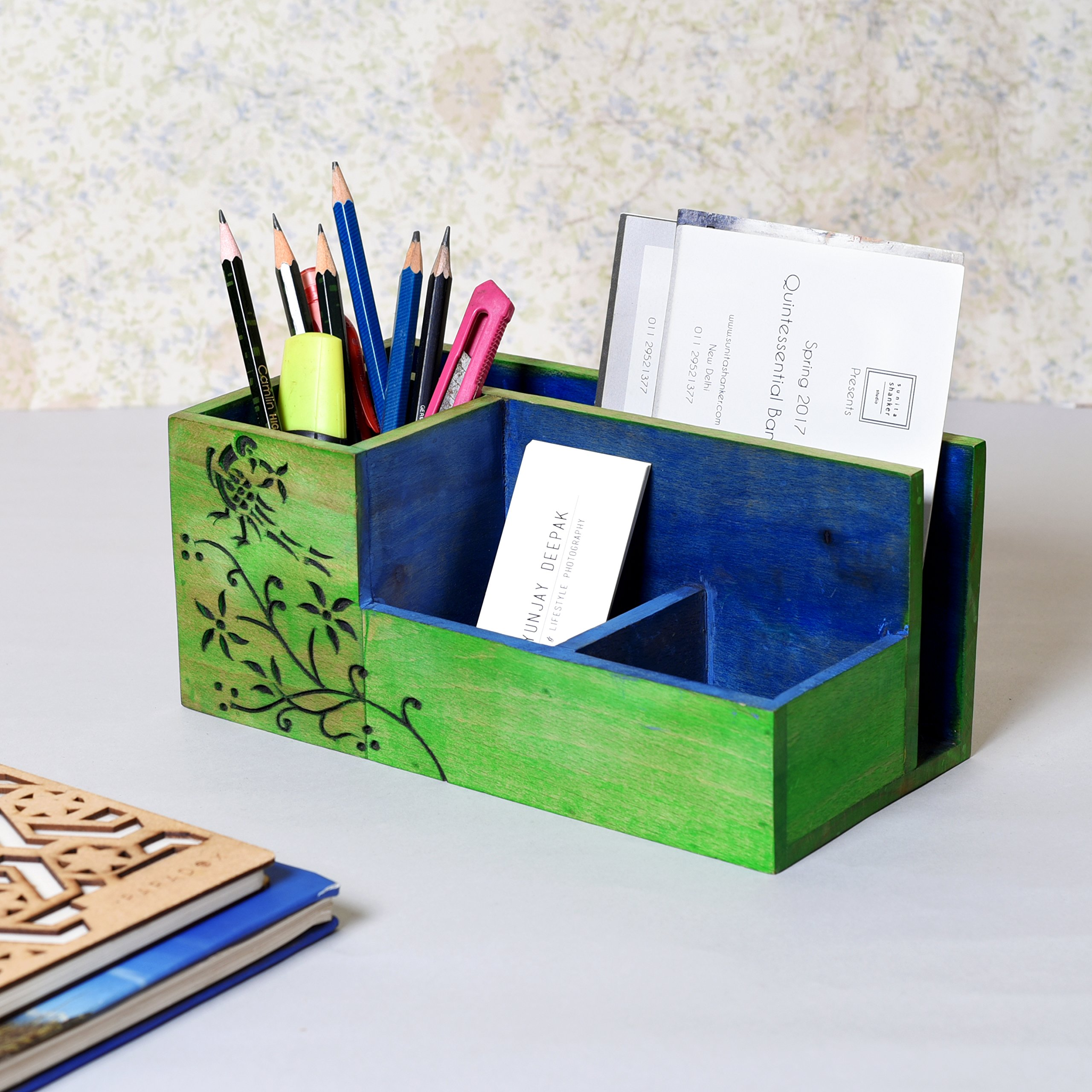 Unravel India Wooden handcarved Blue & Green Desk Organizer