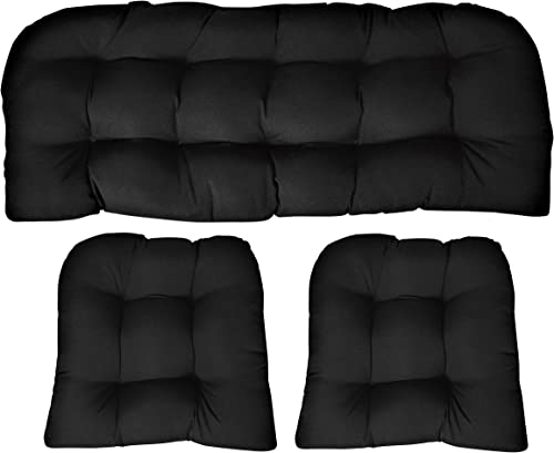 RSH DECOR Sunbrella Canvas Black Large 3 Piece Wicker Cushion Set – Indoor Outdoor Wicker Loveseat Settee 2 Matching Chair Cushions