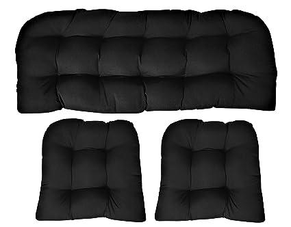 Amazon.com: Sunbrella lona negro cojín de mimbre de 3 piezas ...