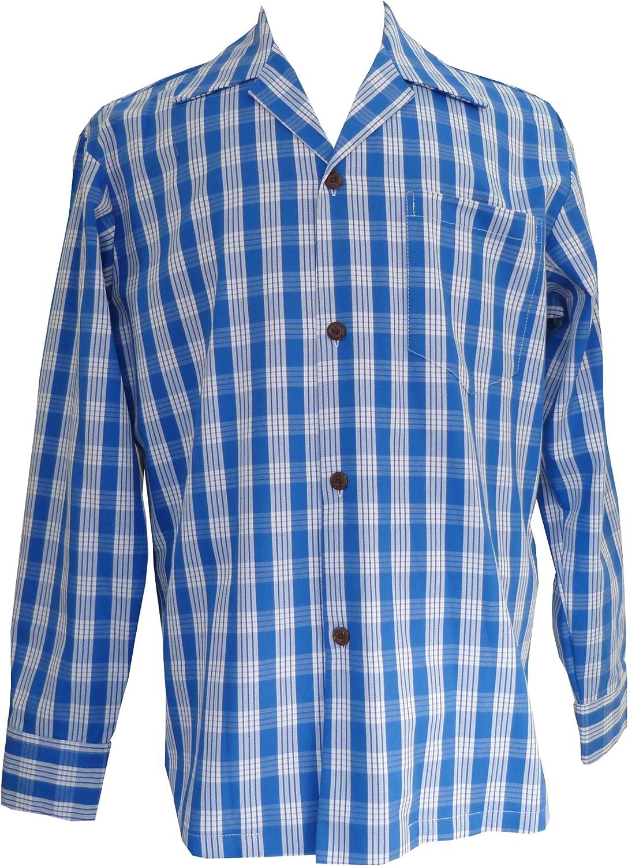 Mens Classic Hawaiian Paniolo Palaka Plaid Long Sleeve Shirt