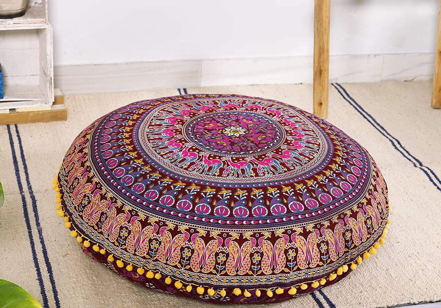"Popular Handicrafts Large Hippie Mandala Elephant Floor Pillow Cover - Cushion Cover - Pouf Cover Round Bohemian Yoga Decor Floor Cushion Case- 32"" Maroon"