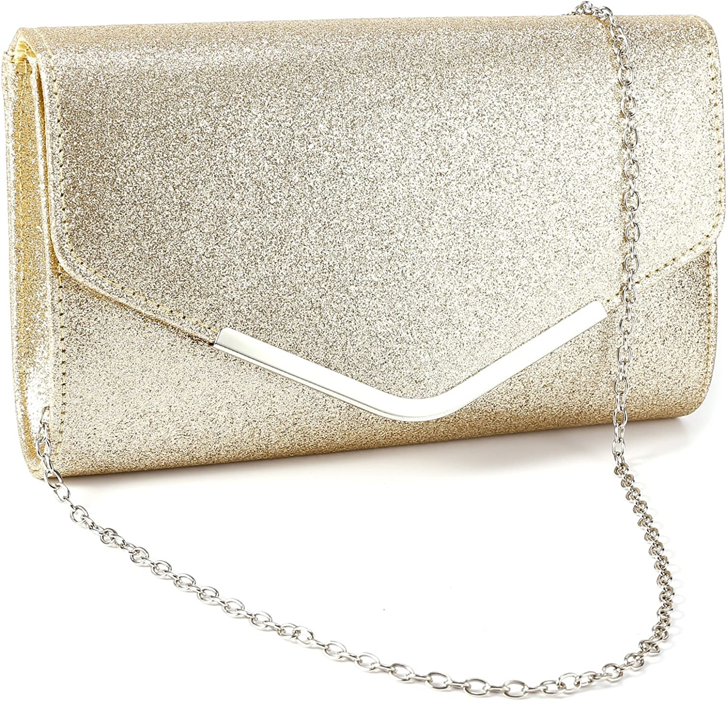 Anladia Metal-Tipped Purse Sparkle Glittered Envelope Clutch Bag Bridal Prom Party Purse