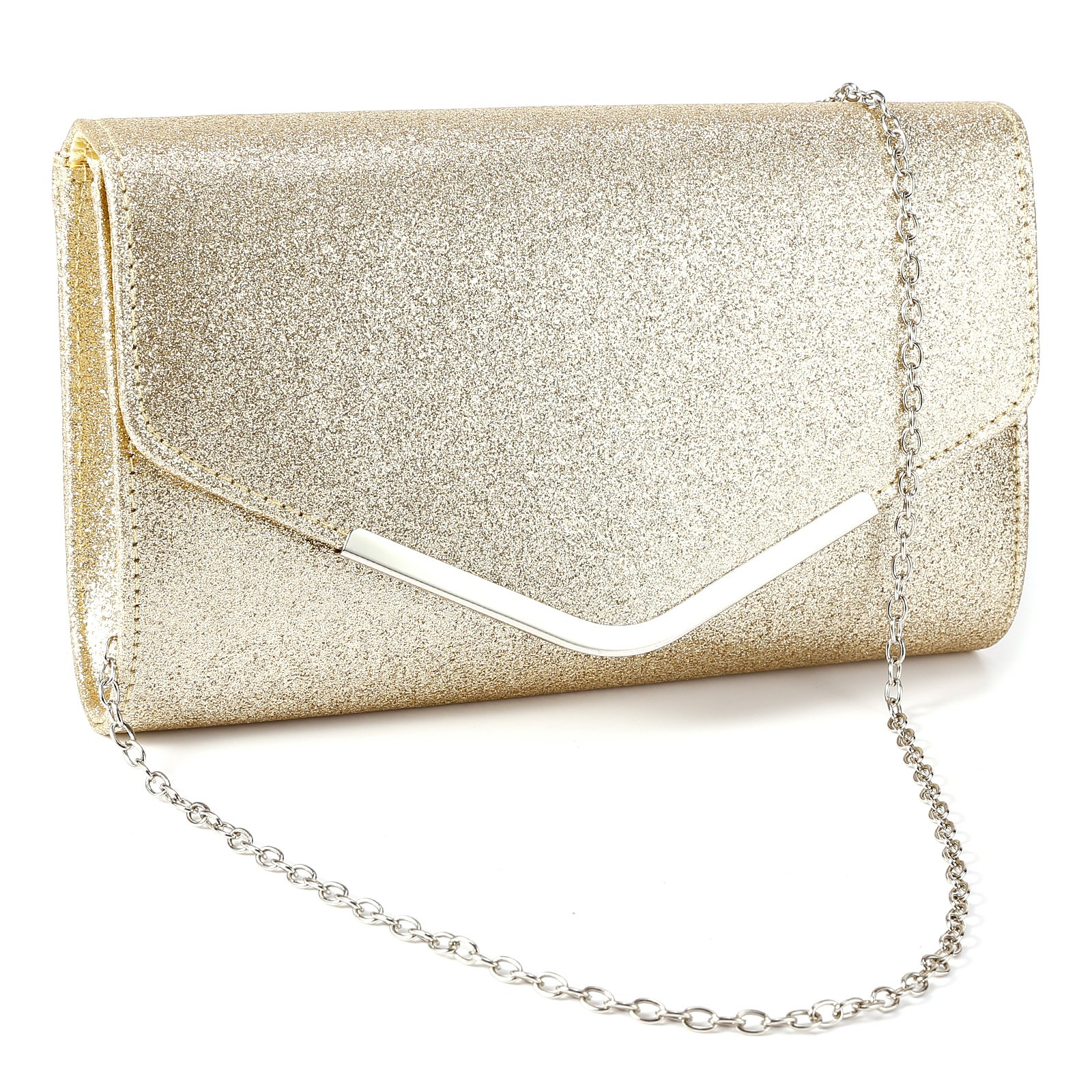 Anladia Metal-Tipped Purse Sparkle Glittered Envelope Clutch Bag Bridal Prom Party Purse by Anladia (Image #1)