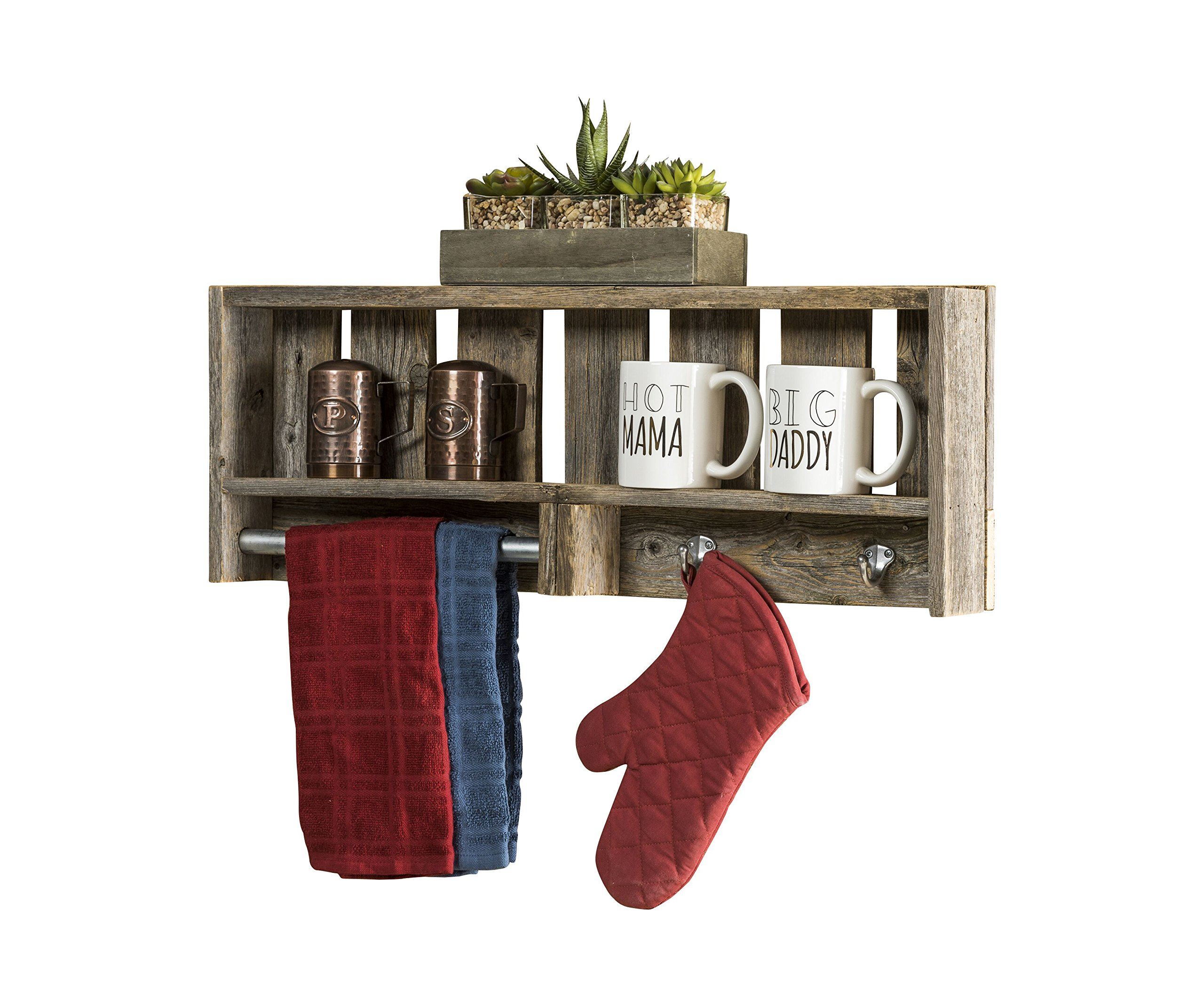 del Hutson Designs Reclaimed Wood Versatile Bathroom Shelf