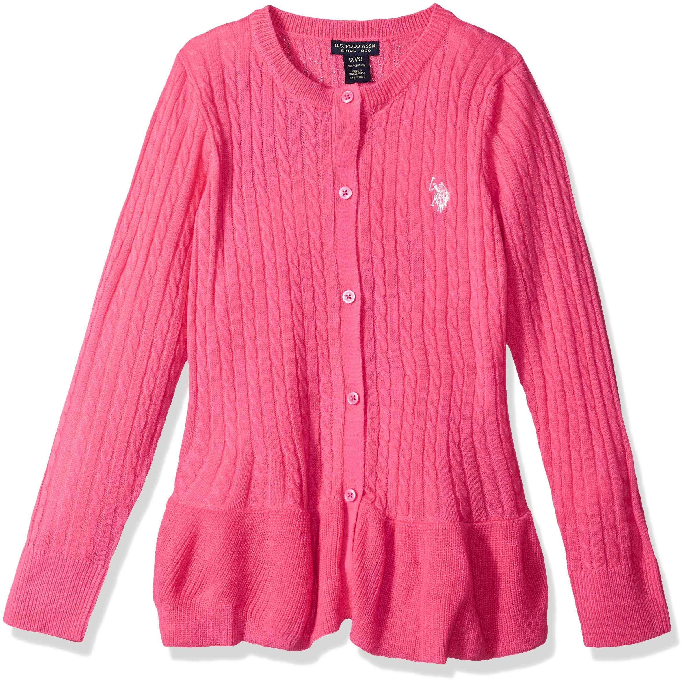 U.S. Polo Assn. Girls' Big Pullover Sweater, as Cable Cardi Medium Pink, 10/12
