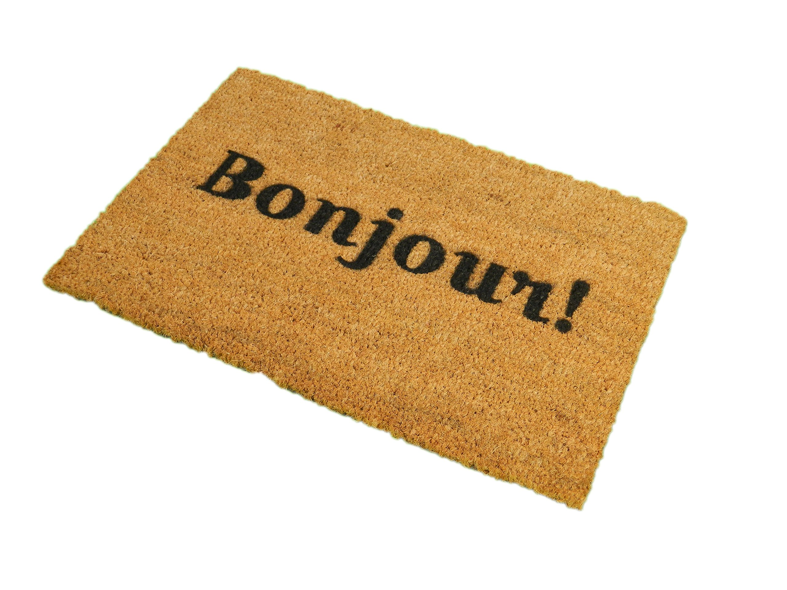 CKB Ltd Bonjour Novelty Doormat Unique Doormats Front/Back Door Mats Made With A Non-Slip Pvc Backing - Natural Coir - Indoor & Outdoor