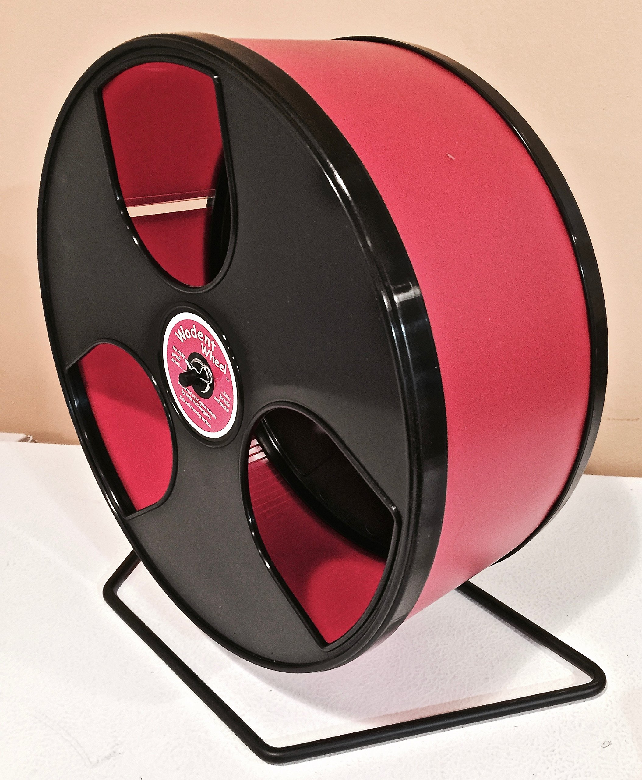 HEDGEHOG/CHINCHILLA EXERCISE WIDE TRACK 12'' WODENT WHEEL IN RED WITH BLACK PANELS