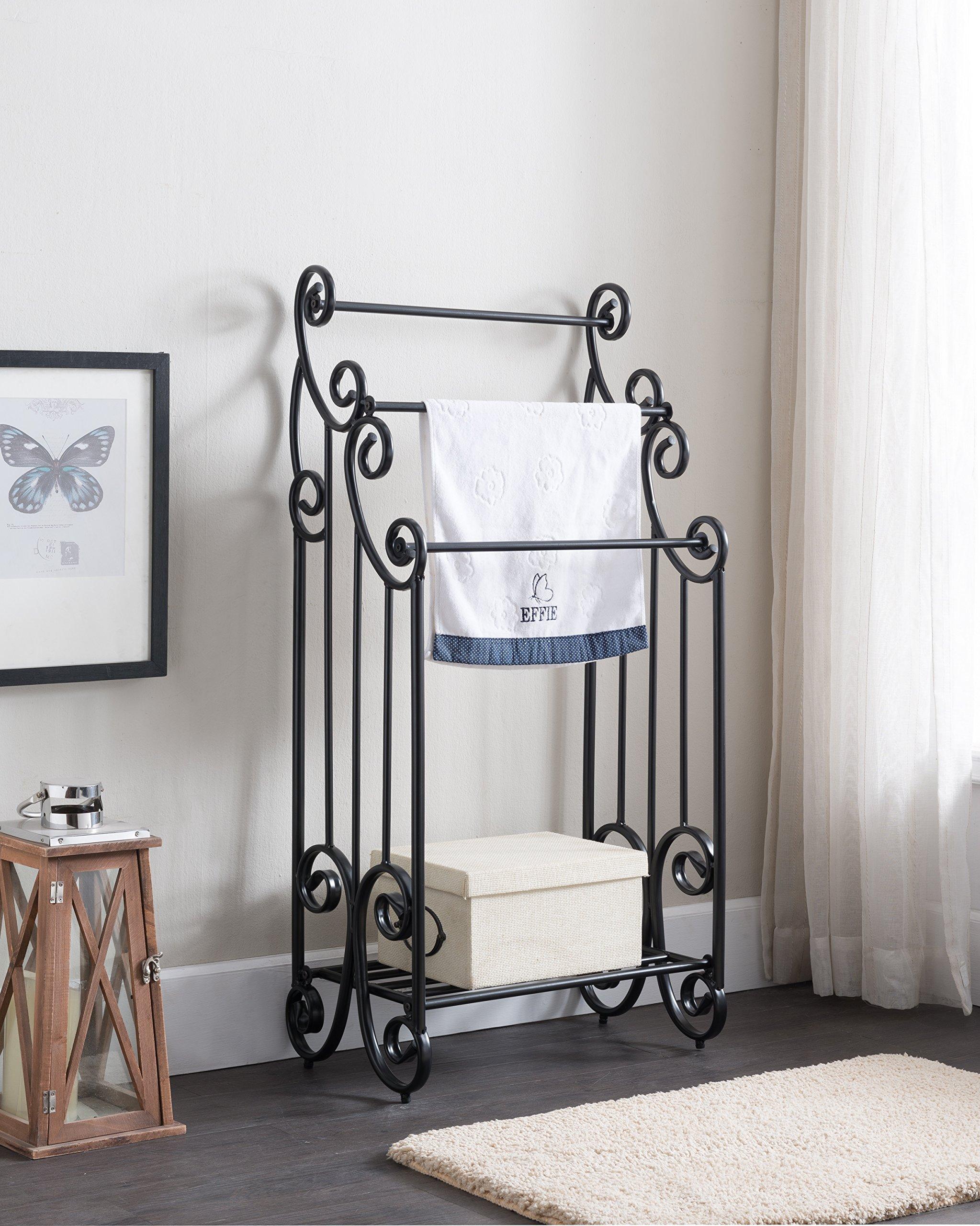 Black Metal Finish Large Towel Rack Bathroom Stand Shelf Three Bars with Bottom Storage and Scroll Design