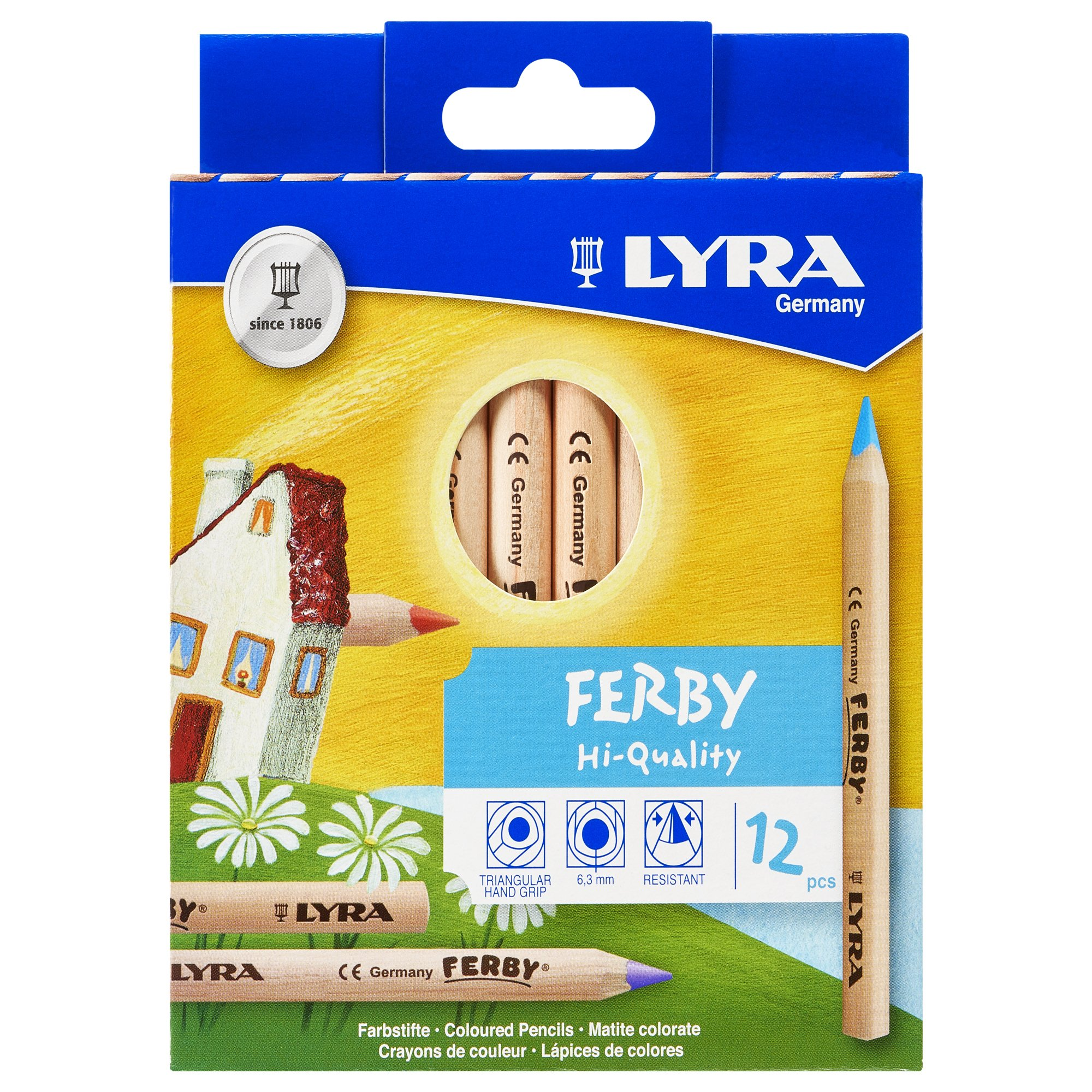 LYRA Ferby Giant Triangular Colored Pencils, Unlacquered, 6.25 Millimeter Cores, Assorted Colors, 12 Count (3611120) by Lyra