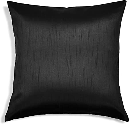 Aiking Home Solid Faux Silk Euro Sham Pillow Cover Zipper Closure 26 By 26 Inches Black Home Kitchen