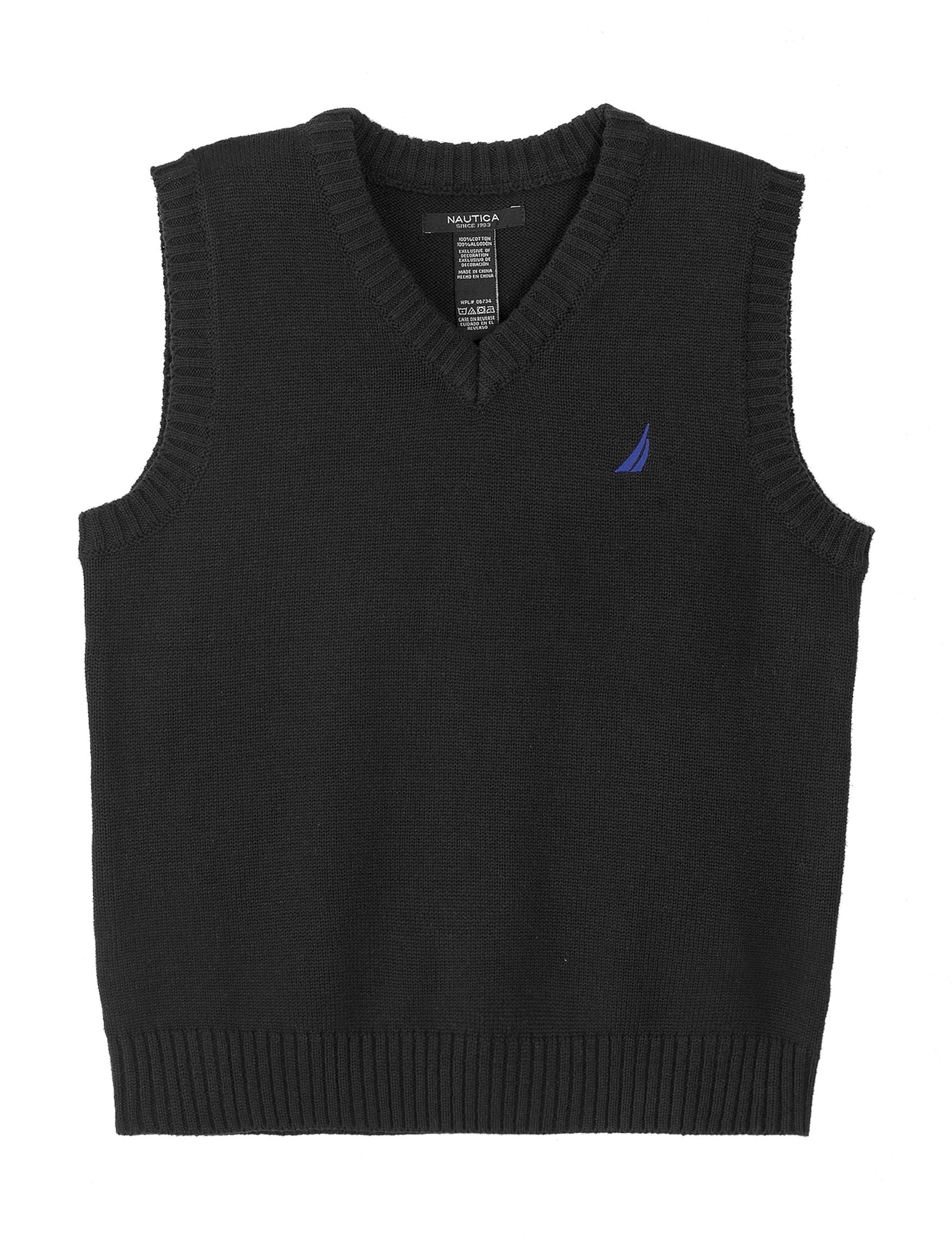 Nautica Boy's Solid V-Neck Sweater Vest, Sport Navy (XL(18/20))