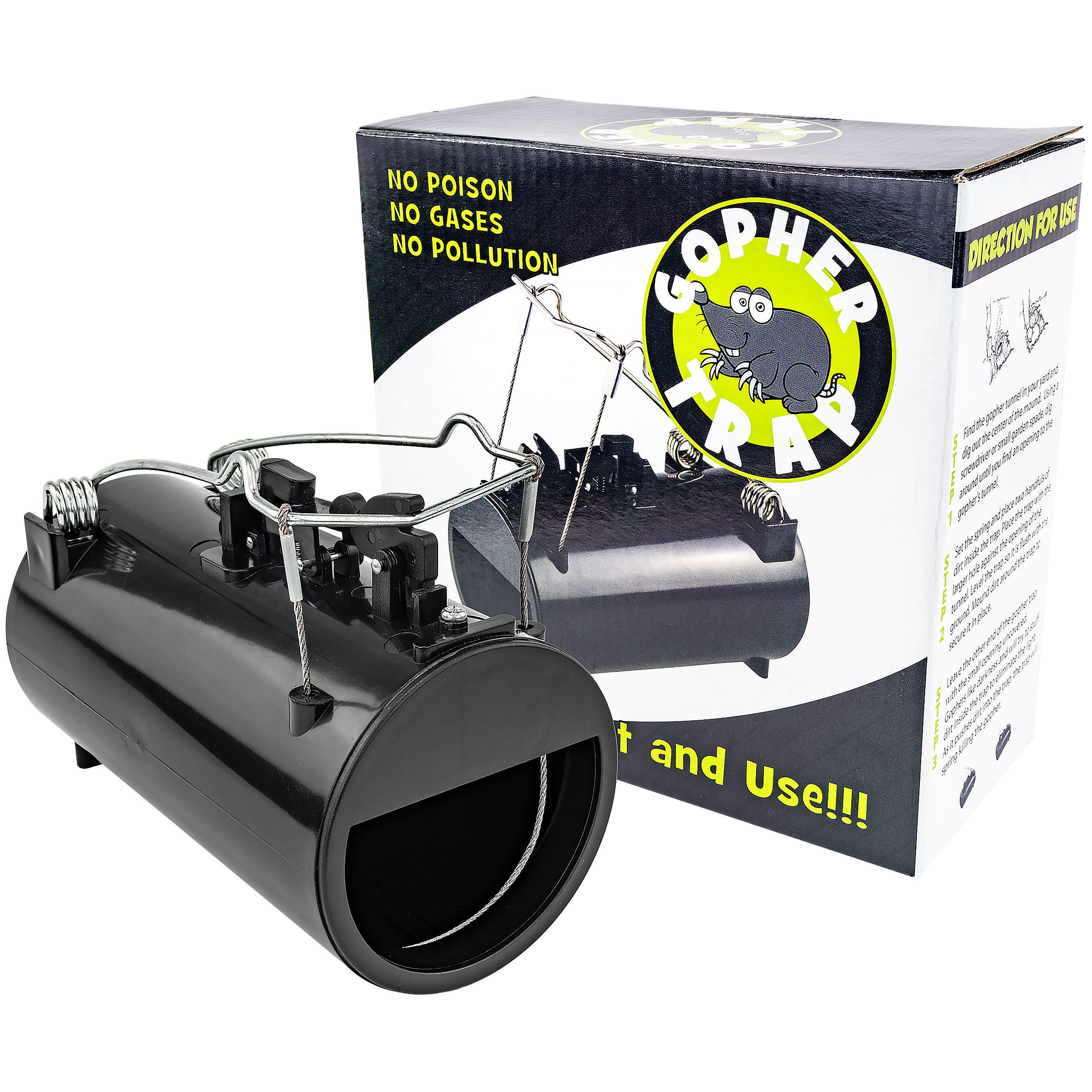 Southern Homewares SH-10165 Hole Gopher/Rodent Easy Set Spring Loaded Trap, Black