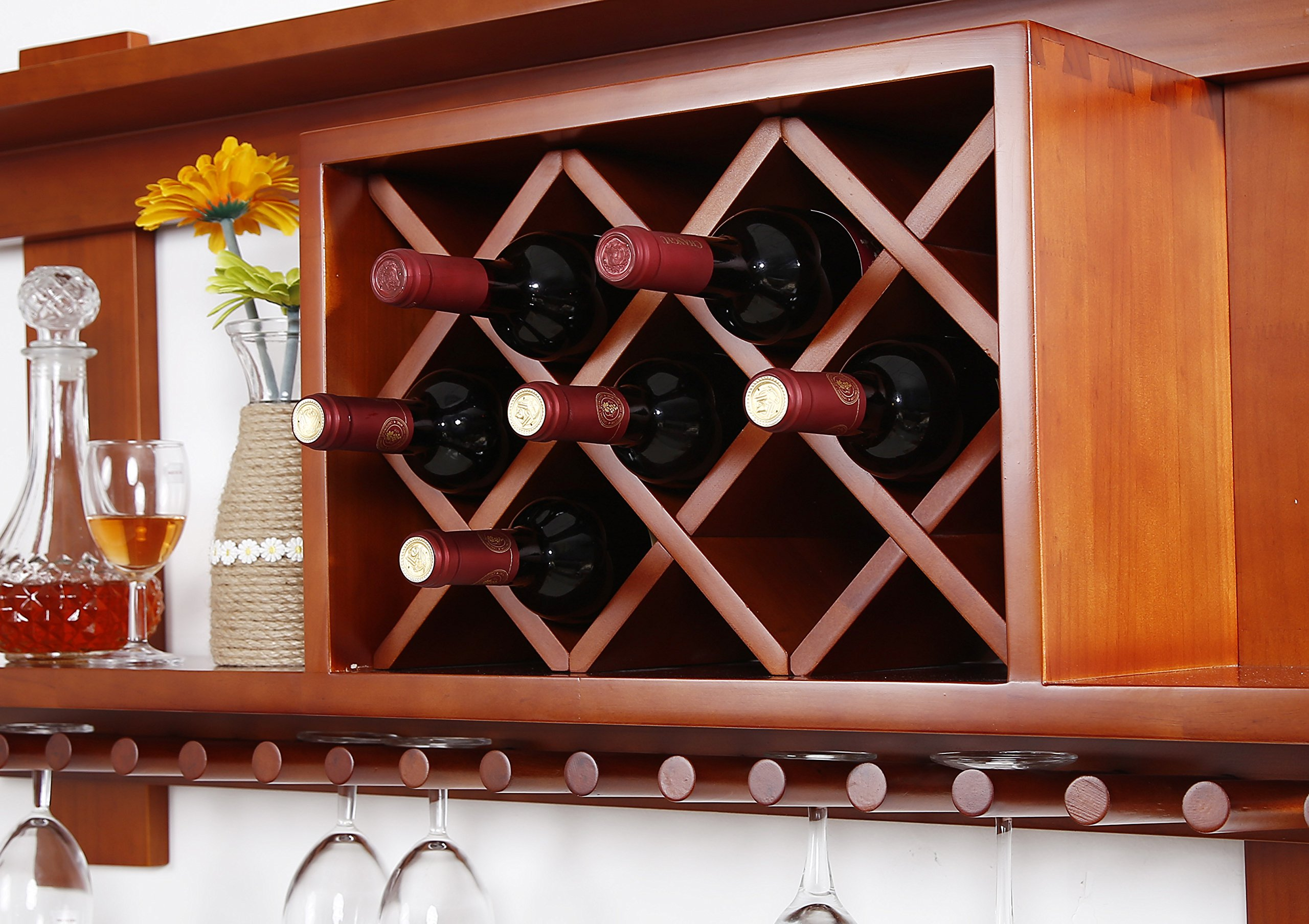 MallBoo Wall Mounted Wine Rack /Cabinet Pine Wood Wine Shelf with Glass Holders and Bottle Grids for Wall Decor/Art, 63-inch, Walnut by MallBoo