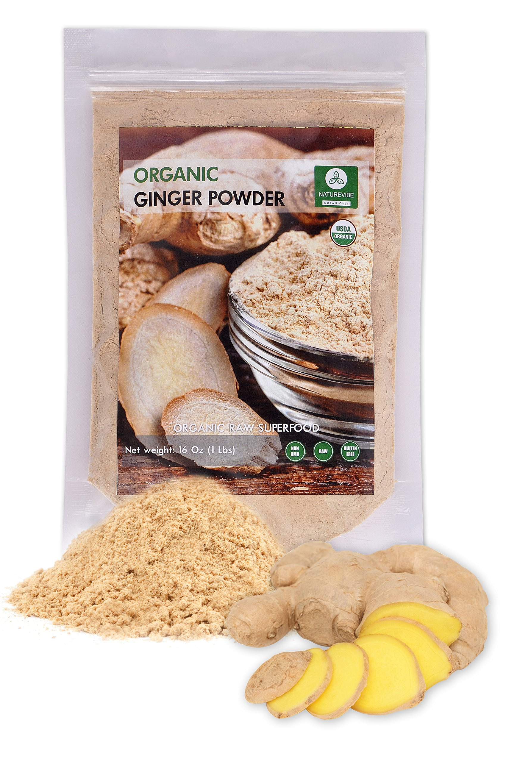 Organic Ginger Ground or Powder (1lb) by Naturevibe Botanicals, Gluten-Free, Raw & Non-GMO (16 ounces)